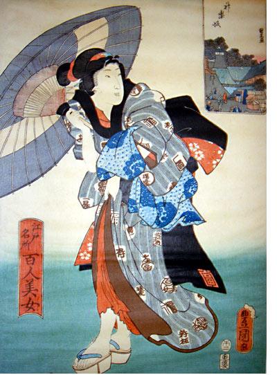 Ukiyo-e - Ausstellung im Mönchehaus Museum Goslar 2009 Utagawa Toyokuni III, Kagurasaka, Farbholzschnitt, 36,6 x 24,8 cm Aus der Serie 100 Schönheiten und berühmte Stätten in Edo Sammlung Scharf-Gerstenberg