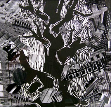 City Planning 9: The Oak, 2006,  Linolschnitt und sw-Photographie, 64,3 x 62,5 cm Franz Ackermann - Goethe abwärts (Sammlung Falckenberg) Mönchehaus Museum 2006