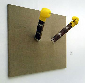 What a life, 2004, bricks on canvas, boxing gloves,  varnish, 120 x 170 cm Georg Herold - Goethe abwärts (Sammlung Falckenberg) Mönchehaus Museum 2006