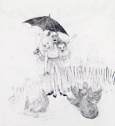 Sarah Nschotschi Haslinger Hühnerglück, 2007 I 116 x 106 cm, Blei- und Buntstift auf Papier Courtesy: rahncontemporary Zürich