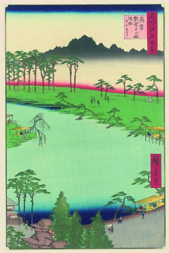 Ukiyo-e -Ausstellung im Mönchehaus Museum Goslar 2009 Hiroshige (1797-1858), Der Schrein Juniso bei Kumano, 1856 Farbholzschnitt, 34,3 x 22,6 cm aus der Serie 100 Ansichten von Edo Sammlung Scharf-Gerstenberg