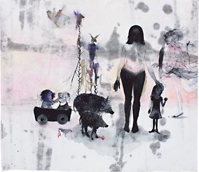 Sarah Nschotschi Haslinger o.T. (Mutter, Kinder, Wildschweine), 2009 I 41 x 53 cm, Gouache Courtesy: rahncontemporary Zürich