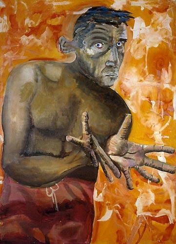 Self-Portrait With Empty Hands, 1998, Oil, acrylic on canvas, 200 x 144 cm Albert Oehlen - Goethe abwärts  (Sammlung Falckenberg), Mönchehaus Museum 2006
