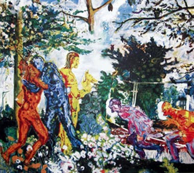 Zur Einheit durch den Wald, 2004, Farbserigraphie 80 x 89,5 cm auf 90 x 99,8 cm Daniel Richter - Goethe abwärts (Sammlung Falckenberg) Mönchehaus Museum 2006