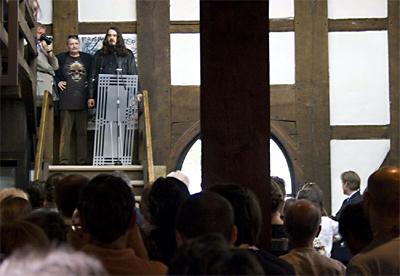Jonathan Meese & Herbert Volkmann im Mönchehaus Museum Vernissage, Manifest zur Ausstellung, Foto: Petra Heymann, Köln